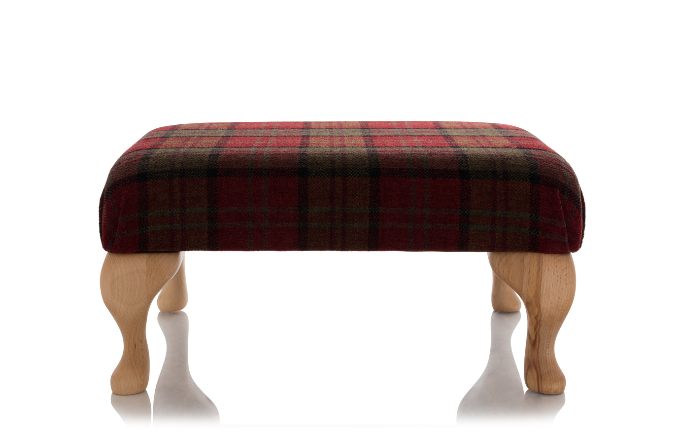 New Footstool Queen Anne Ottoman Red Tartan Check Fabric